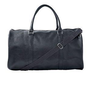 Slate Gray Faux Leather Duffel Bag w Strap, NWT
